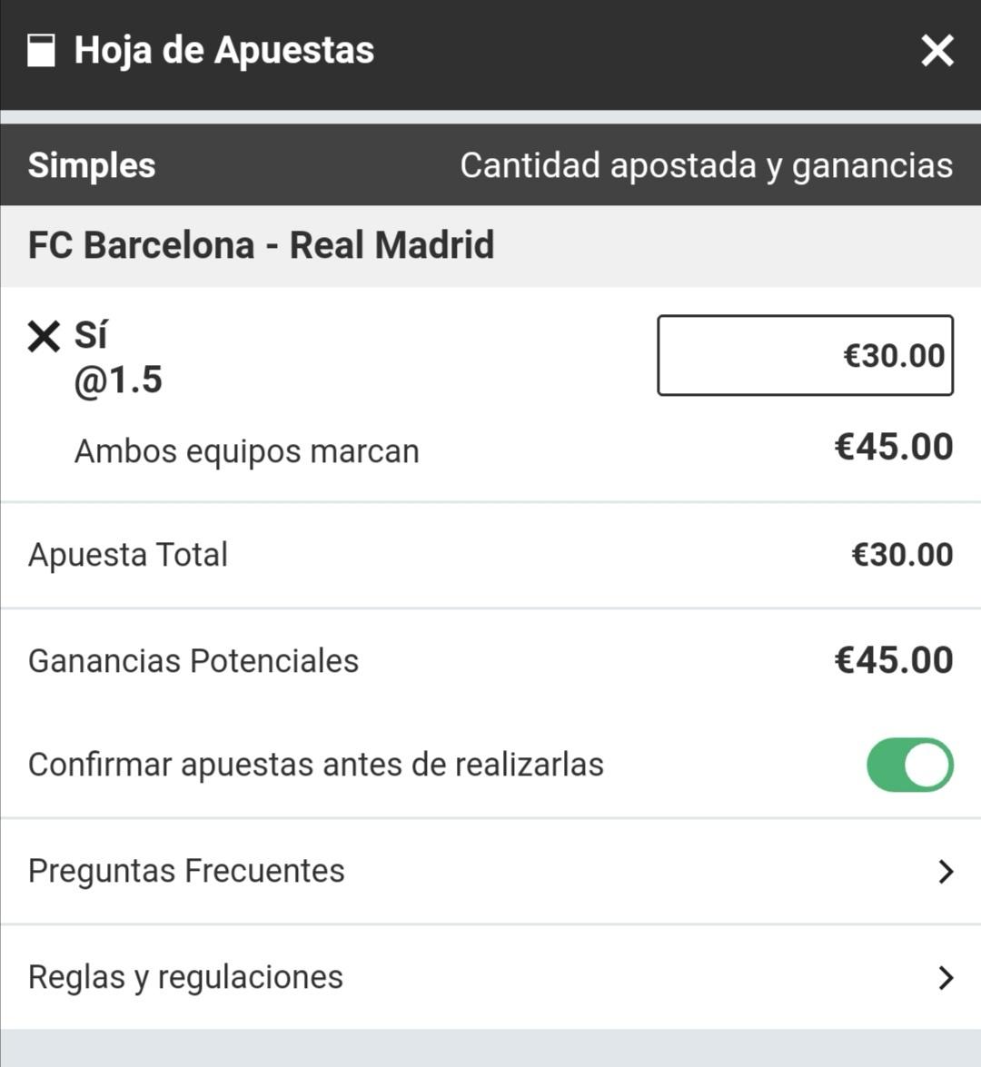 Apostar sin riesgo al Barcelona - Real Madrid del 26 de octubre de 2019